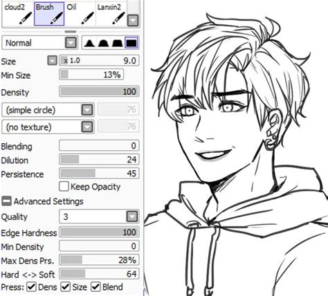 paint tool sai lineart tutorial mouse kkumri s brush settings for lineart paint tool sai brush