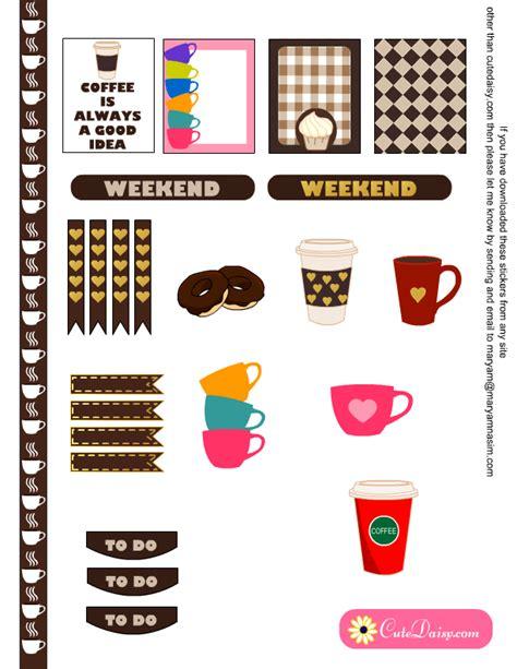 printable planner stickers rainbow coffee cup by partyink free printable coffee themed planner stickers sler kit