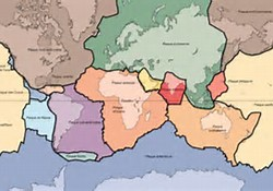 Carte des principales plaques tectoniques terrestres.