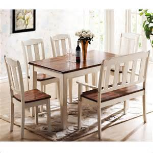 International oasis complete dining set with table bench amp 4 chairs