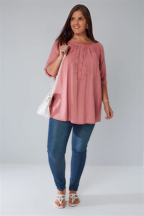 Sm Blouse Bugsize Wash Biru Blouse Size Wash Biru dusky pink button up blouse with embroidery detail plus size 16 to 36