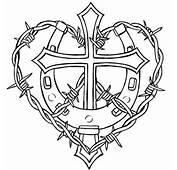 Cross And Horseshoe With Barbed Wire Tattoo Design  Free Images At