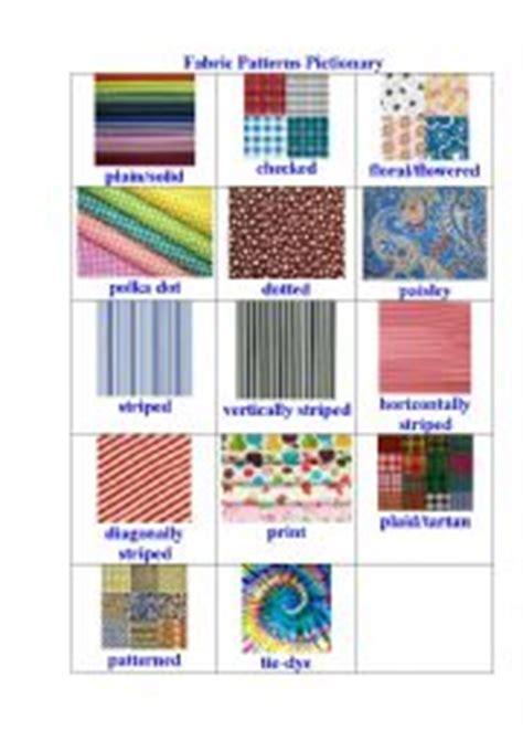 clothes pattern esl english worksheets fabrics patterns pictionary