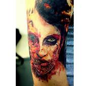 Zombie Injured Girl Face Tattoo