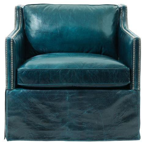 blue leather armchair britta hollywood regency nailhead blue leather skirted