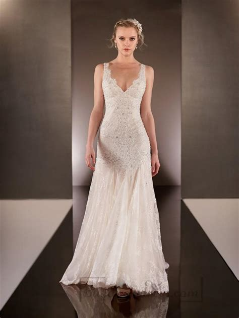 V Neck Wedding Dress by Beaded Straps Plunging V Neck Lace Wedding Dresses