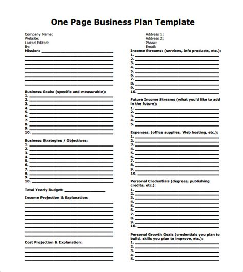 business one sheet template one page business plan sle 9 documents in pdf