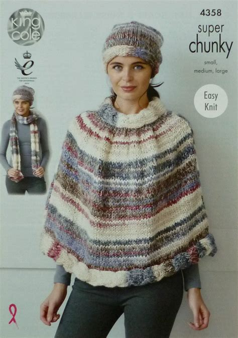 free chunky scarf knitting patterns uk womens knitting pattern k4358 cable edge poncho hat