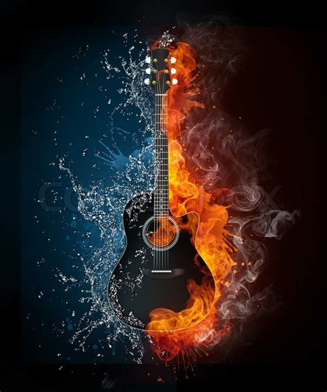Total Concepts Home Design by Electric Guitar On Fire And Water Isolated On Black