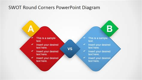 Swot Powerpoint Template Round Corners Slidemodel Powerpoint Theme Vs Template