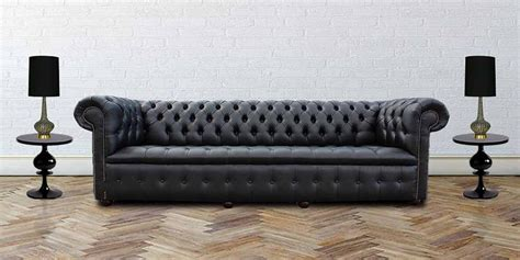 4 seater chesterfield sofa black leather 4 seater buttoned seat