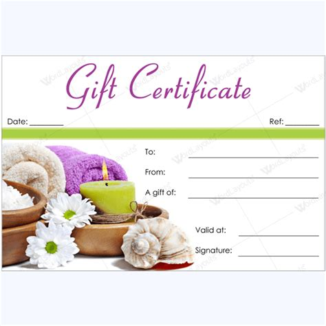 Printable Gift Certificate Spa | 50 spa gift certificate designs to try this season