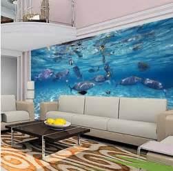 Aquarium Wall Mural Custom Mural Wallpaper Aquarium 3d Photo Wallpaper For