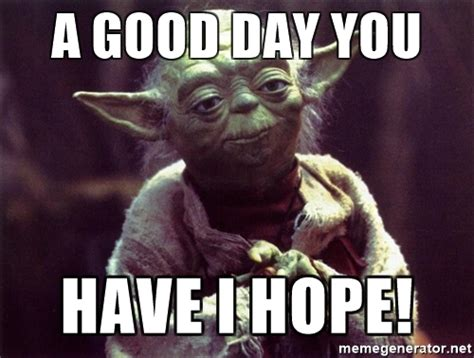Have A Good Day Meme - a good day you have i hope yoda meme generator