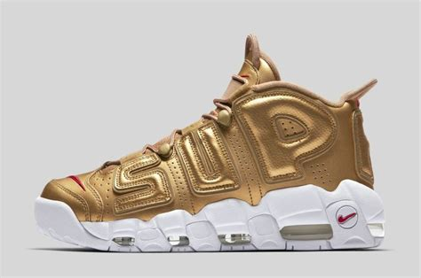 Nike Air More Up Tempo Gold White cheap supreme x nike air more uptempo metallic gold white for sale