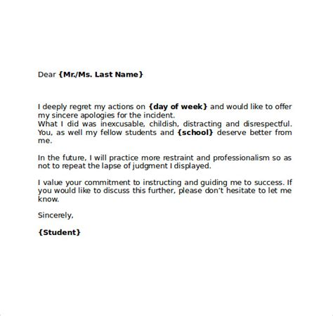 Apology Letter Of Absence Apology Letter To School 8 Free Documents In Pdf Word
