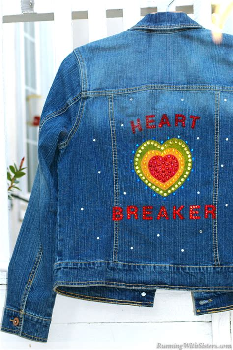 acrylic paint on denim bedazzled jean jacket running with