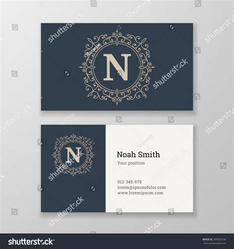 business card template us letter svg business card monogram emblem letter n stock vector
