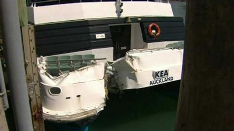 boat crash auckland chaos as ferry smashes into auckland wharf one news now