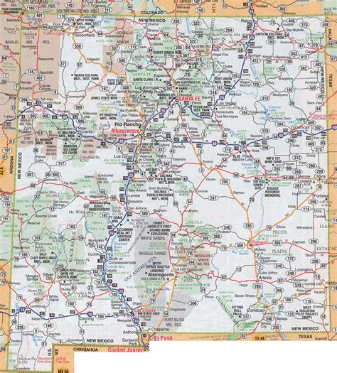 highway map of usa with states and cities large detailed roads and highways map of new mexico state