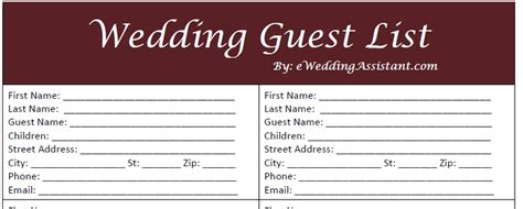 Guest Information Card Wedding Template by Free Printable Wedding Guest List Template Vastuuonminun