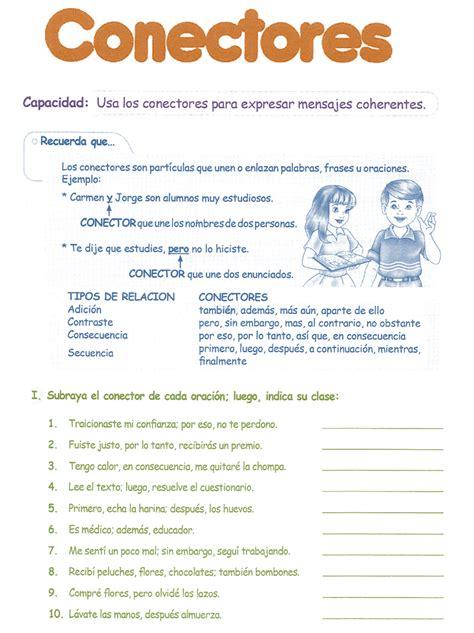 libro conectores de la lengua conectores para ni 241 os 4 176 grado primaria razonamiento verbal lengua grado para