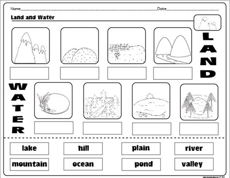 Landform Worksheet by Landforms And Bodies Of Water Freebie The Lesson Plan