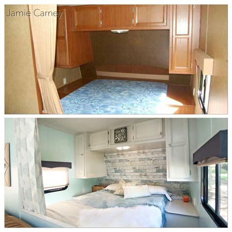 theme master bedroom redo in a travel trailer