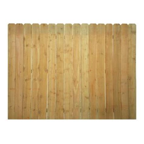 home depot fence sections cedar dog ear fence panel common 6 ft x 8 ft actual 0