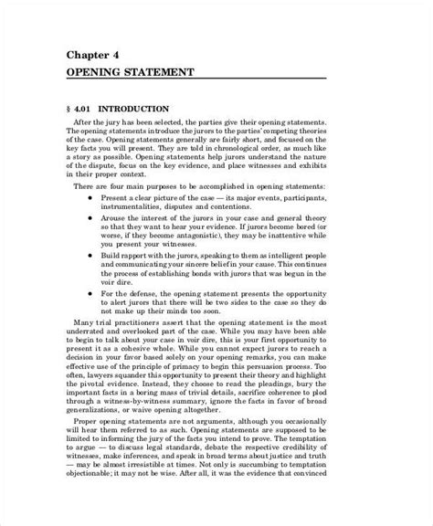 7 opening statement exles sles