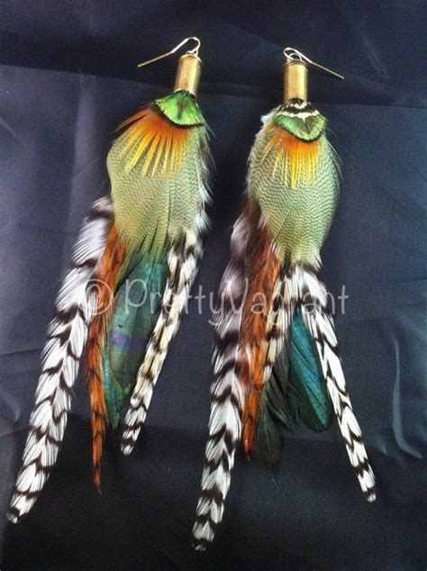 Handmade Feather Earrings - handmade feather earrings lucky duck bullet grizzly