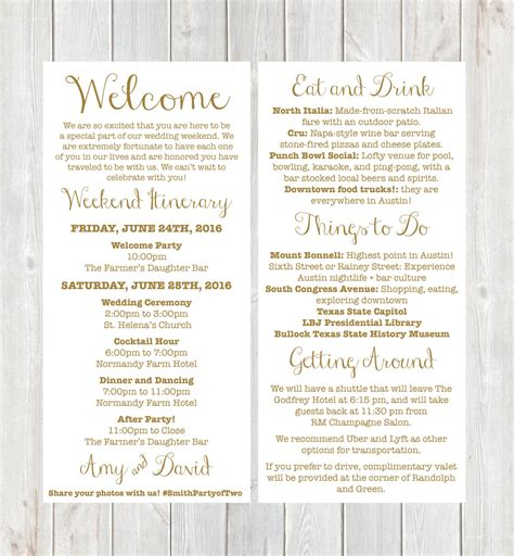 letter weekend itinerary wedding itinerary gold