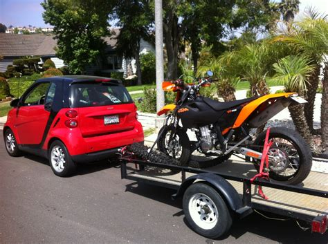towing smart car towing a motorcycle trailer with a smart car south bay