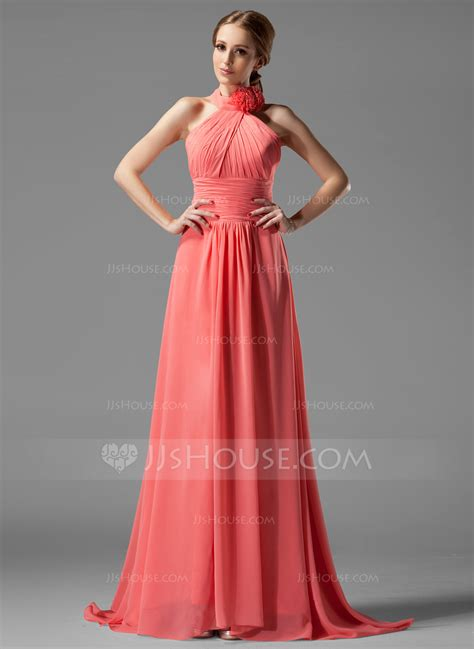 jj house a line princess halter sweep train chiffon bridesmaid dress with ruffle flower s