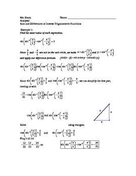 geometry inverse trig functions worksheet kidz activities