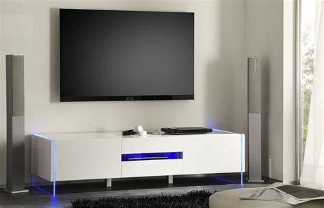 Kitchen Tv Cabinet by Chic Contemporary White Glossy Tv Stand Base With Led