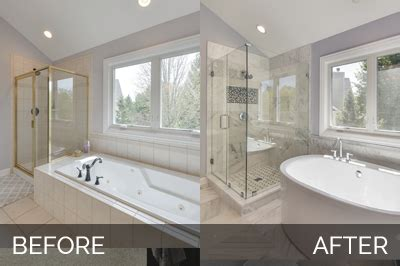 before and after master bathroom remodels doug natalie s master bath before after pictures