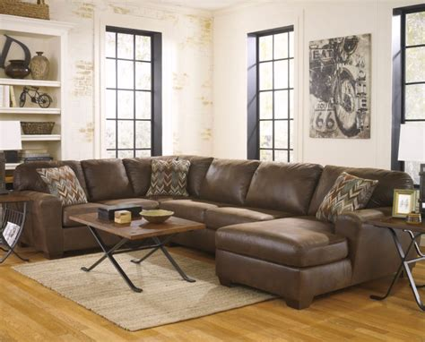 Coffee Table For Sectional Sofa With Chaise furniture small leather u shaped sectional with chaise in brown feat industrial coffee