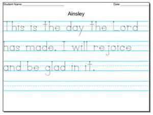 Worksheets handwriting hand writing