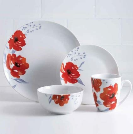 karina bailey poppy dinner set pc home tableware