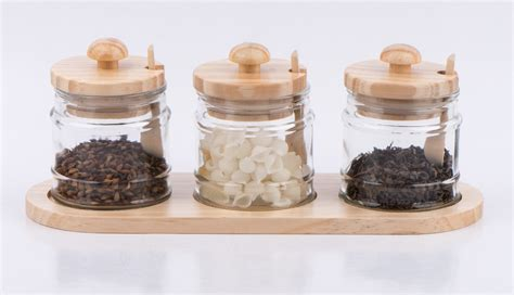 Spice Jar With Spoon 2pcs Glass Spice Jar With Spoon And Metal Rack Tw1027