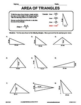 Area Of Triangles By Maisonet Math Middle School