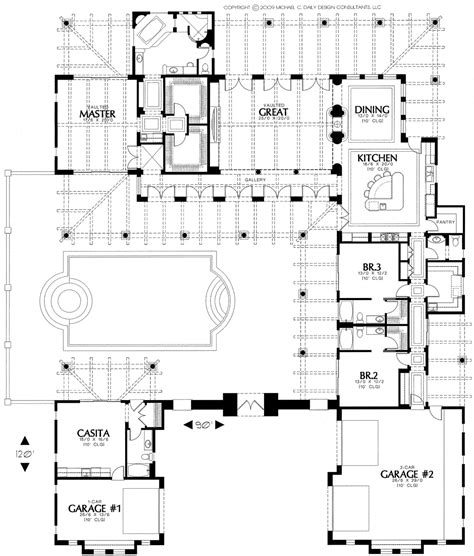 Santa Fe Style House Plans courtyard home plan houses plans designs