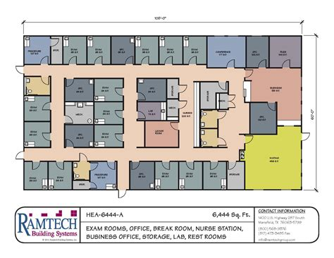 clinic floor plan 6444 sf clinic floor plan ramtech building systems