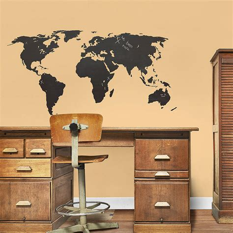 world wall stickers chalkboard world map wall sticker by the binary box