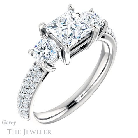 princess cut forever one moissanite engagement ring