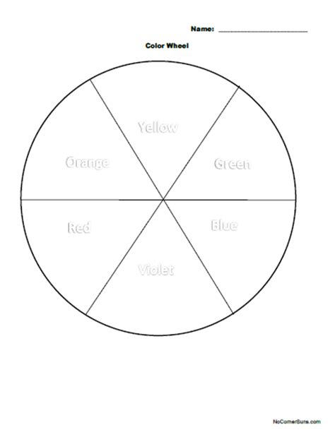 basic color wheel template no corner suns easy grade color wheel coloring page