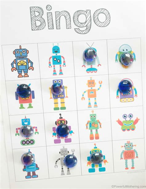 printable games for kids robot memory game free free robot bingo game for kids