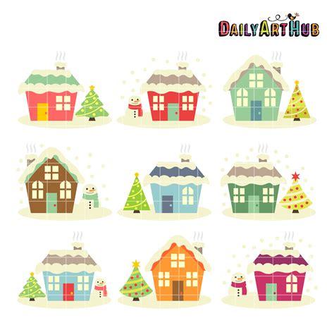 christmas houses christmas houses clip art set daily art hub