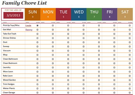the family chore list template will help you manage the